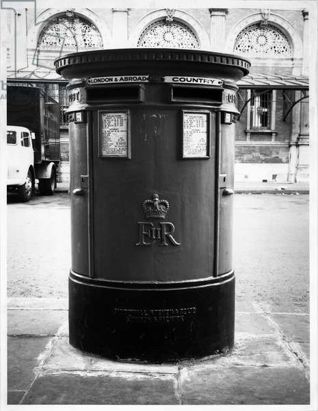 Post Box 'C', Smithfield Street, London, 1961 (b/w photo)