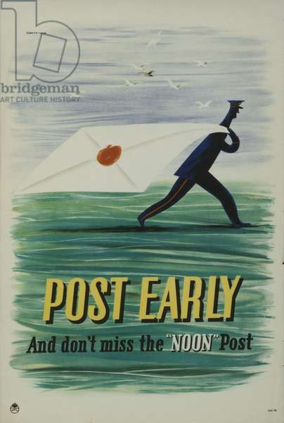 Post early and don't miss the noon post, 1941 (colour litho)