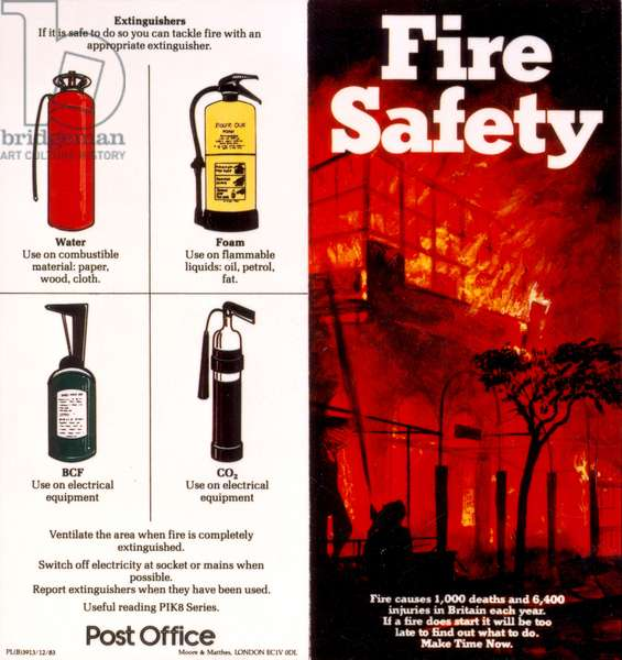 Fire Safety Poster, printed by Moore & Matthes, London (colour litho)