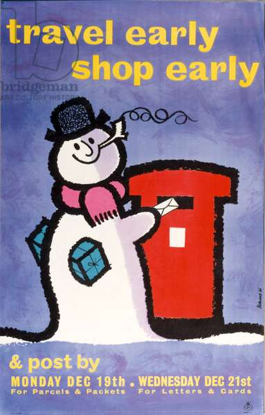 Travel early, shop early & post by Monday Dec 19th for parcels & packets, Wednesday Dec 21st for letters & cards, 1960 (colour litho)