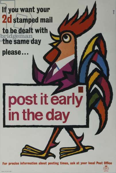 If you want your 2d stamped mail to be dealt with the same day please... Post it early in the day, 1961 (colour litho)