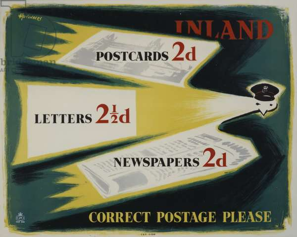 Inland postcards 2d, letters 2 1/2d, newspapers 2d, correct postage please, 1956 (colour litho)