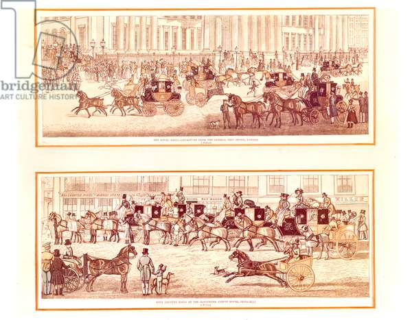 The Royal Mails - Departure from the General Post Office, London, 1830 (engraving)