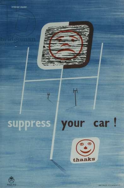Suppress your car!, 1953 (colour litho)