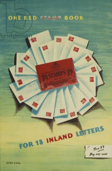 One red stamp book - for 18 inland letters, 1954 (colour litho)