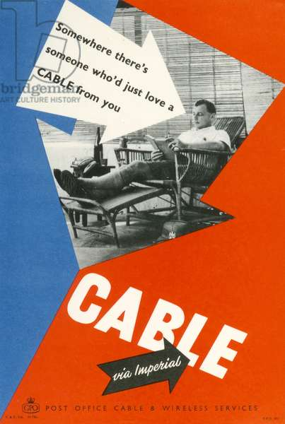 Somewhere there's someone who'd just love a cable from you, 1955 (colour litho)