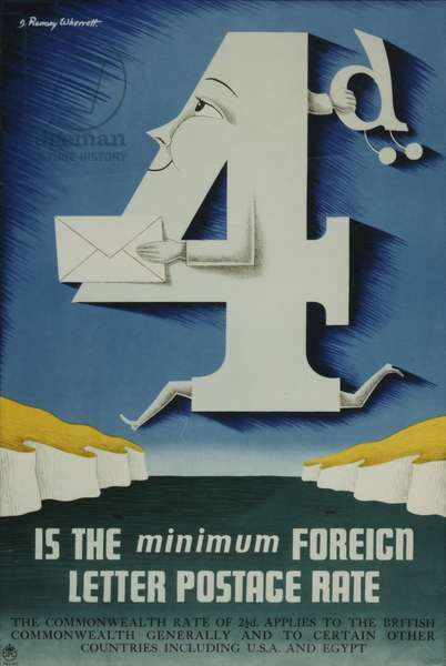 4d is the minimum foreign letter postage rate, 1952 (colour litho)