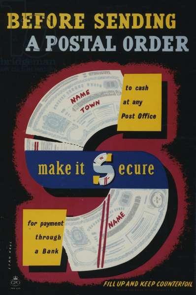 Before sending a postal order make it secure, 1956 (colour litho)