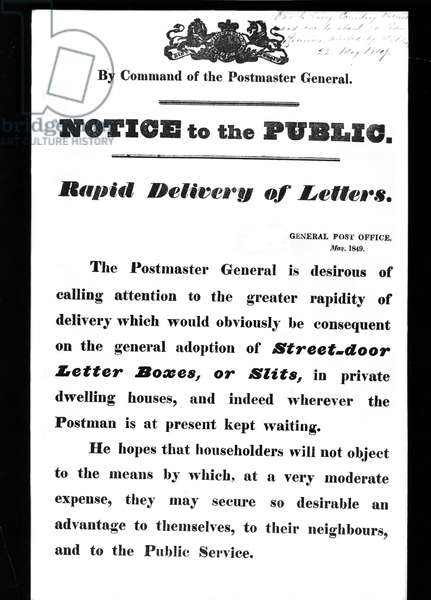 Notice to the public: Rapid delivery of letters, May 1849 (litho)