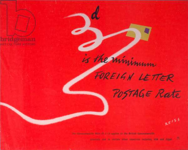 3d is the minimum foreign letter postage rate, 1949 (colour litho)