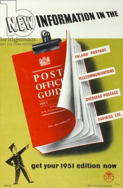 New information in the 'Post Office Guide', Get your 1951 edition now, 1951 (colour litho)