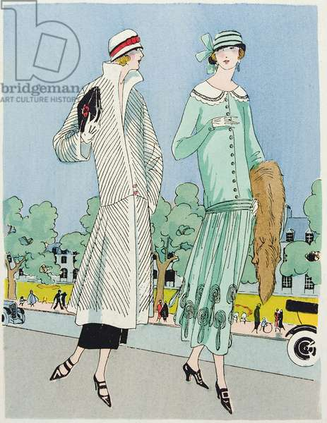 Promenading, fashion plate from 'Art, Gout, Beaute', pub. Paris, 1920's (pochoir print)