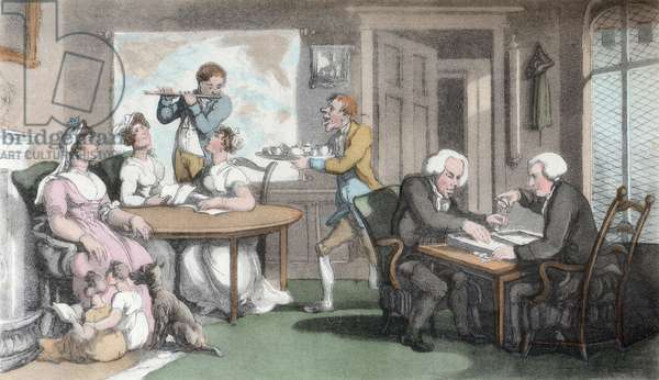 The Social Evening, illustration from 'The Vicar of Wakefield' by Oliver Goldsmith, pub. Ackermann, 1817 (hand-coloured aquatint)