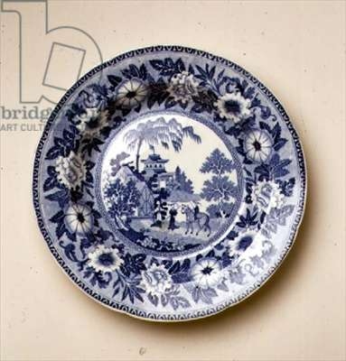 'Zebra' pattern ablue and white transfer-print plate, designed by John Rogers & Son, English, c.1815 (earthenware) (for detail see 104416)