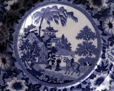 'Zebra' pattern blue and white transfer-print plate, detail, designed by John Rogers & Son, English, c.1815 (earthenware) (detail of 104415)
