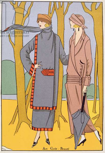 Autumn Days, fashion plate from 'Art, Gout, Beaute', pub. Paris, 1920's (pochoir print)