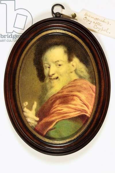 Democritus: an old man laughing (enamel)