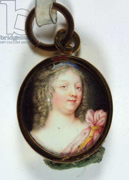 A lady, in crimson drapery (enamel)
