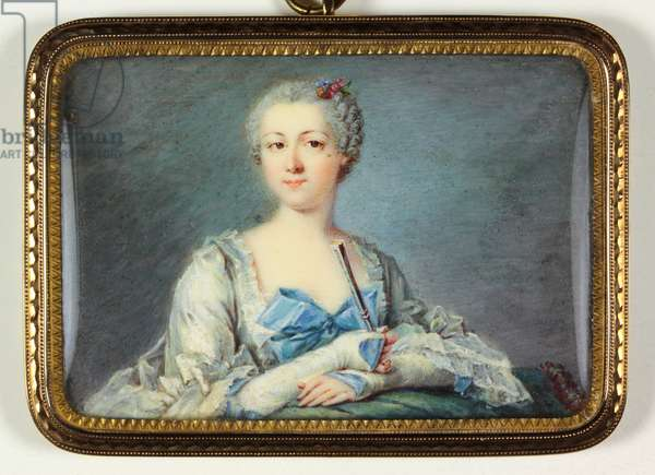 A lady in a white dress with blue bow (enamel)