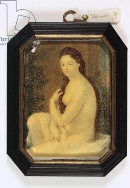 Nude woman (Venus) seated with drapery (enamel)