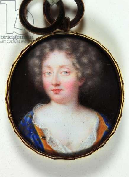 A lady in an orange-lined blue dress (enamel)