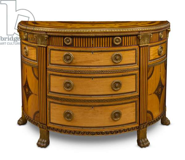 Satinwood and marquetry semi elliptical commode (wood)