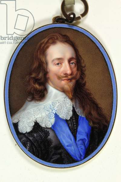 King Charles I in purple black habit with lace collar and blue Ribbon of the Garter, 1638 (enamel)