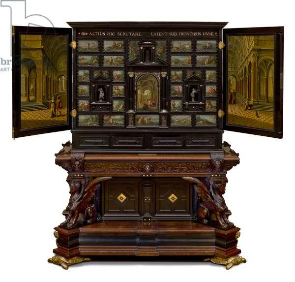 Arundel Cabinet on 19th century stand, 1630 (ebony, oil on copper, gilt, bronze, walnut )