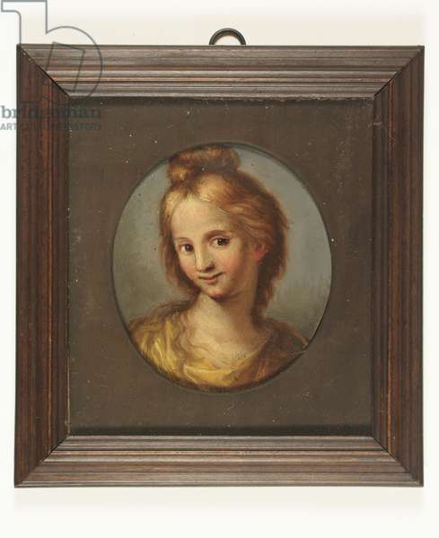 Head of a girl in a yellow dress (oil on copper)