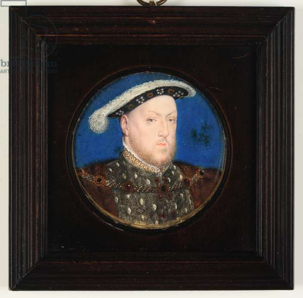 King Henry VIII in a grey goublet and fur gown (w/c & bodycolour on vellum)