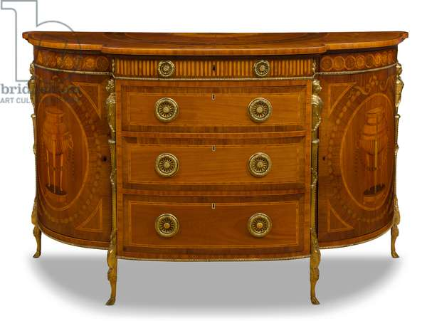 Sabicu and marquetry bow fronted commode (wood)