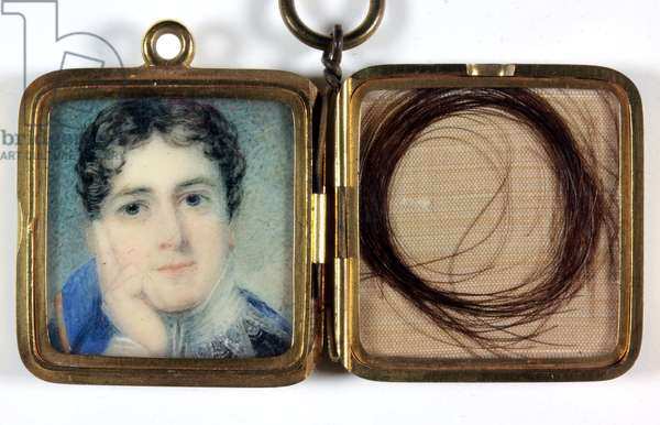 Lord Charles Bentinck (1780-1826), gold locket with lock of hair in opposite compartment