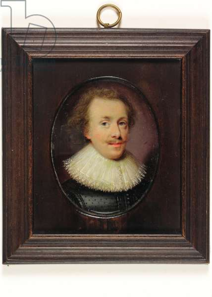 A gentleman, in black figured doublet with falling lace-edged ruff (w/c on vellum)