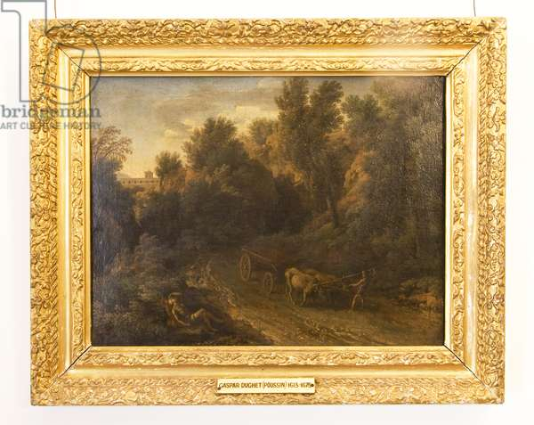 A Classical Landscape with an Ox Cart and Figures (oil on canvas)