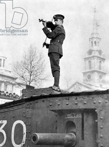 Albert Sammons on tank in Trafalgar Square, c