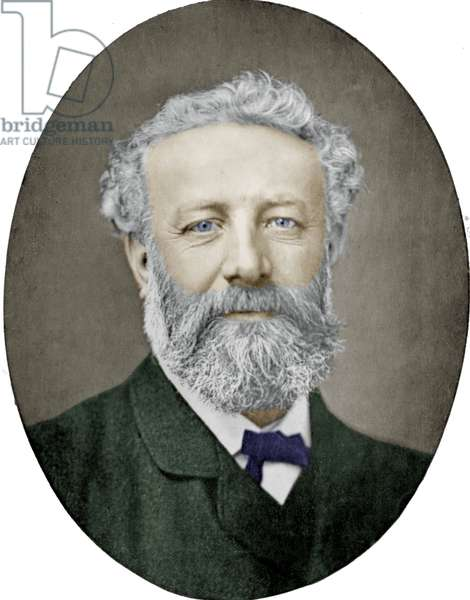 Jules Verne (1828-1905) French novelist, photograph by Nadar, colourized picture
