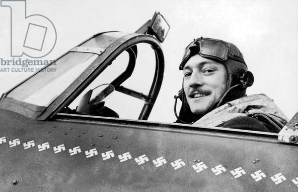 Robert Stanford Tuck (1916-1987) english RAF Fighter pilot who took part in the Battle of England during ww2, the number of swastikas drawn on the cockpit indicates the number of enemy planes shot down