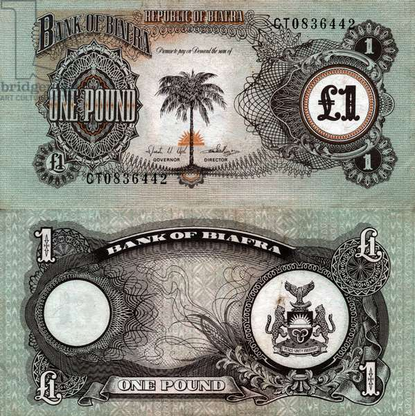 1 pound banknote of Republic of Biafra, 60's