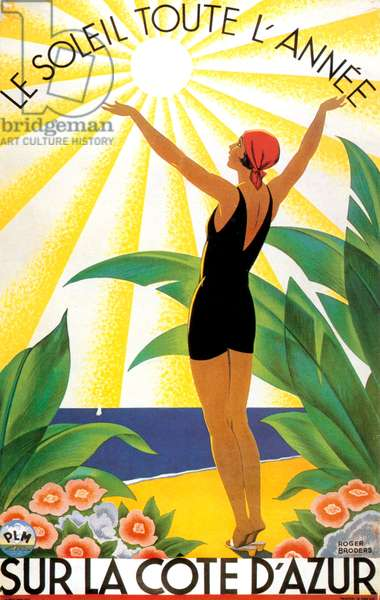 Advert poster for the Riviera south of France, late 1920s - early 1930s (colour litho)