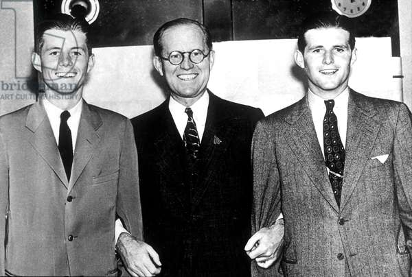 Joseph Kennedy Sr, american ambassador in London, with his sons John and Joseph Jr called Jo in 1937