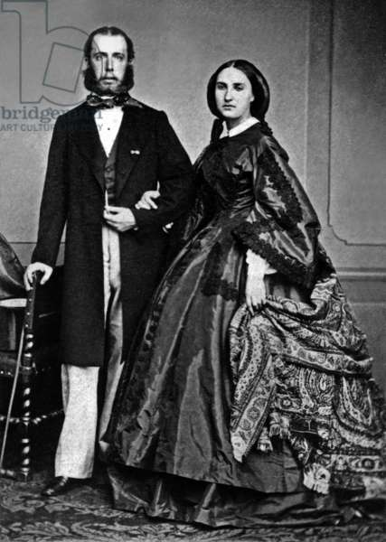 emperor Maximilian of Mexico (Ferdinand-Joseph of Habsbourg) and his wife empress Carlota of Saxe-Coburg-Gotha and of Belgium, here photographed, c.1864 (b/w photo)