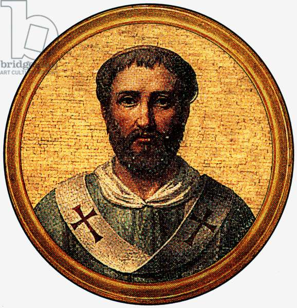 Pelagius II, pope in 579-590, after a medalion of the Basilica of Saint Paul Outside the Walls (-Rome)
