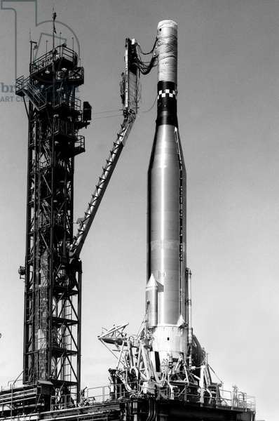 The Gemini Atlas Agena Target Vehicle #10 Gemini 10 stands with service tower pulled back during the L-Band checks on Complex 14, july 1966