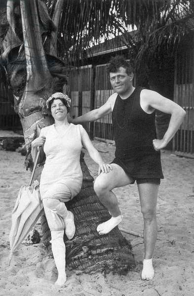 Jack London and Charmian London in Hawaii, Inscribed: