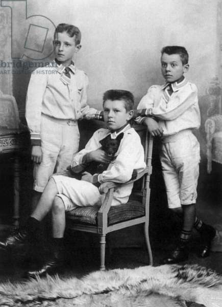 The Magritte Brothers; Raymond, Rene and Paul, c.1910 (b/w photo)