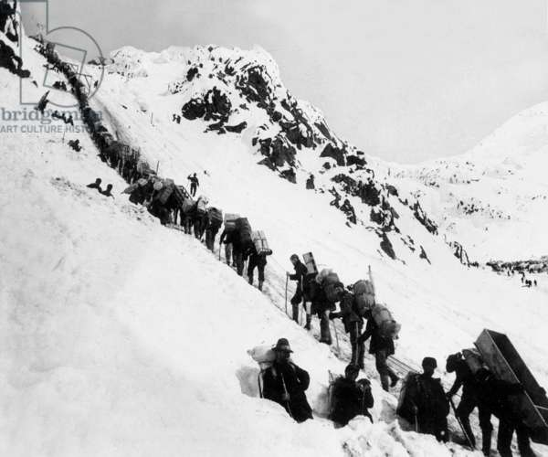 gold-diggers here in Alaska, climbing up the Chilkoot pass on the way to Klondyke (NWT, Canada) where they are going to find gold, 1898