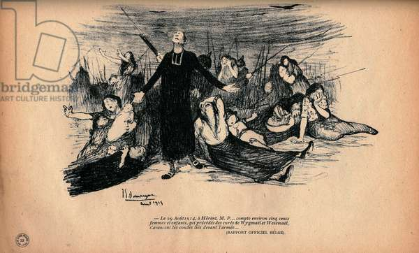On august 29, 1914 in Herent, Belgium, a priest and people facing German army, 1915 (litho)