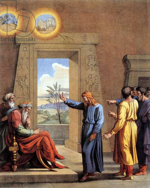 Joseph, son of Jacob, interpreting the dream of Pharaoh predicting starvation for Egypt, after a fresco by Raphael (coloured engraving)