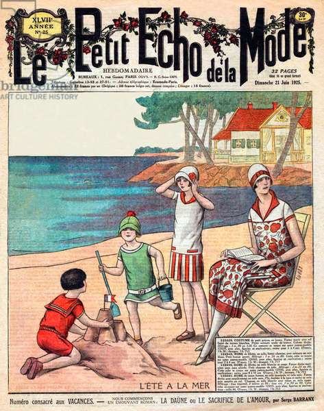 """Summer at the sea, woman with her three children at the beach, front page of """"Petit Echo de la Mode"""" june 21, 1925"""
