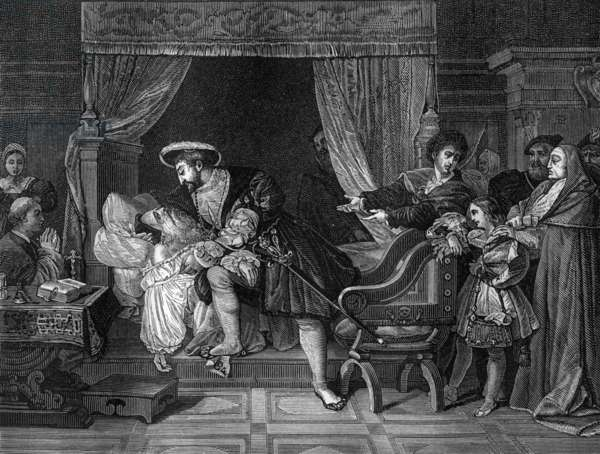 On may 2, 1519, Leonardo da Vinci dies in arms of french king Francois 1st, engraving after Ingres